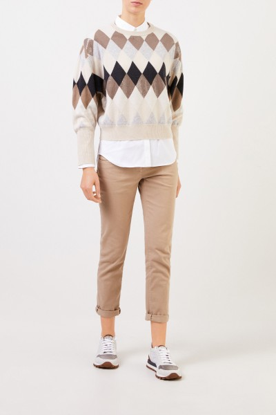 Wool cashmere pullover with check pattern Multi