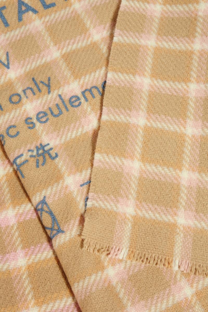 Klassischer Wollschal 'Cassiar Check' Beige/Pink