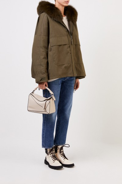 Army by Yves Salomon Jacket with fur details Khaki