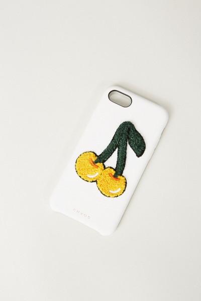Iphone Case 7/8 mit Kirschenapplikation Weiß