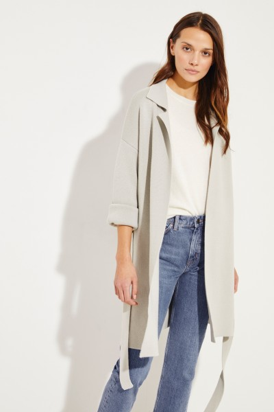 Knitted coat with belt detail Sage
