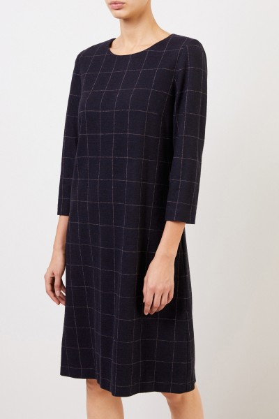 Cappellini Klassisches Woll-Kleid mit Karomuster Blau/Crème