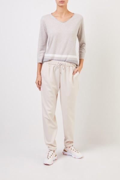 Fabiana Filippi Woll-Seiden-Pullover mit Streifenmuster Beige/Multi
