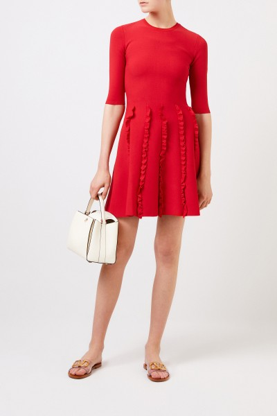 Knit dress with frill details Red