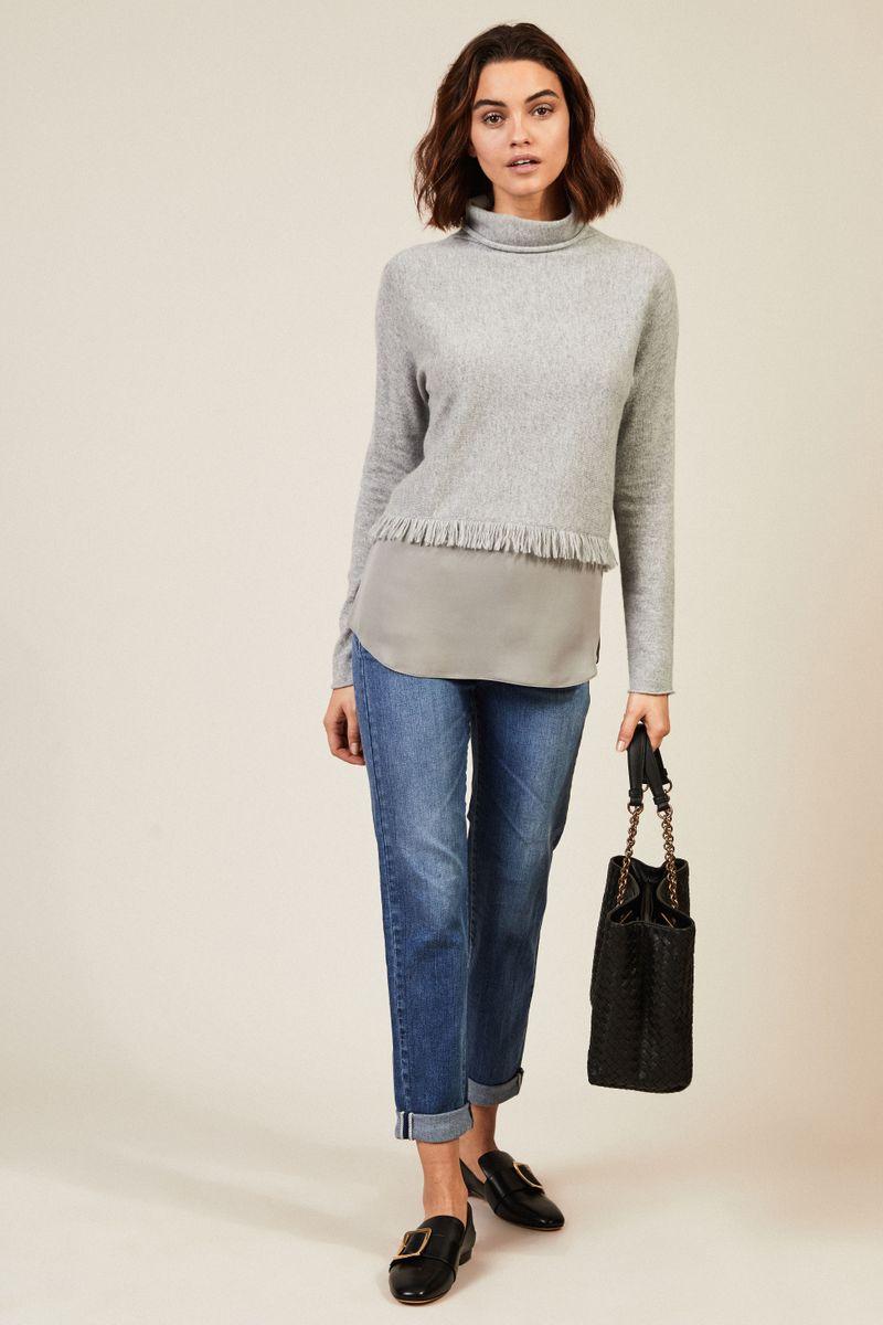 Cashmere-Rollkragenpullover mit Seidendetails Grau