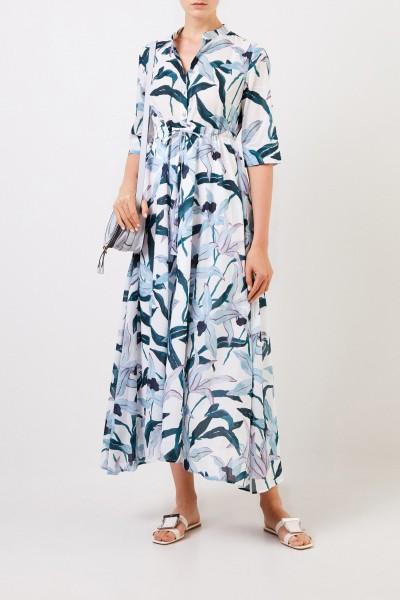 Midi-Kleid mit floralem Print Blau/Grün