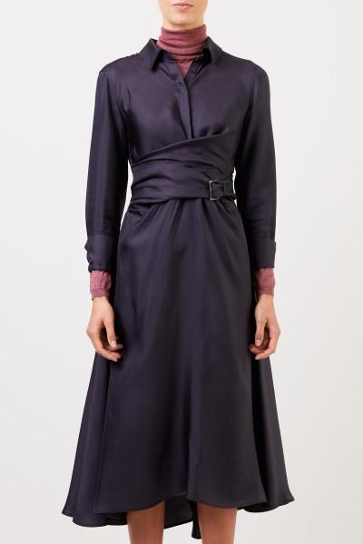 Brunello Cucinelli Seiden-Hemdblusenkleid mit Wickeldetail Blau