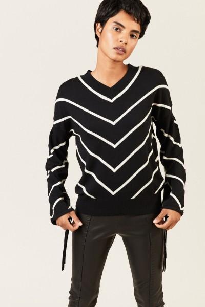 Pullover mit Bindedetails Schwarz/Weiß