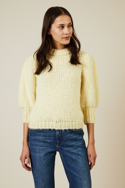 Cropped Mohair-Woll-Pullover 'The Juliard' Gelb