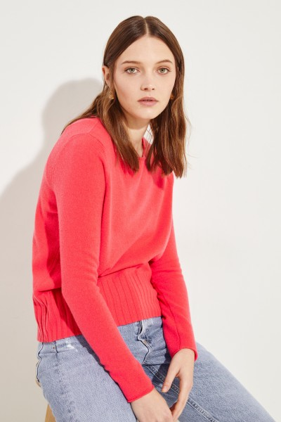 Woll-Cashmere-Pullover mit Rippstrickdetail Pink