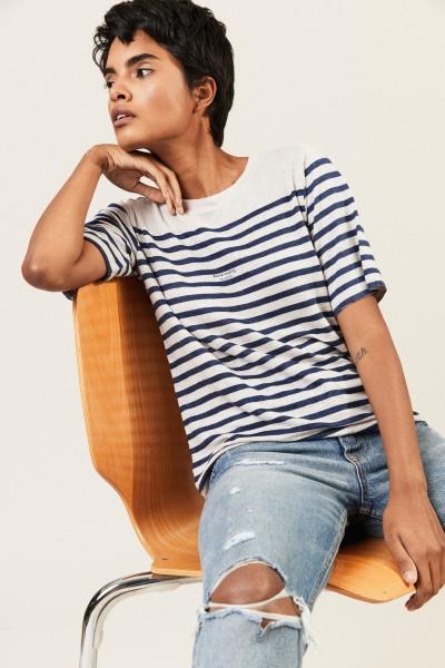 Gestreiftes Leinen-Shirt Weiß/Blau
