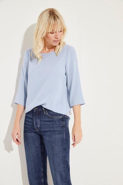 Seiden-Bluse 'Amber' mit 3/4-Arm Blau