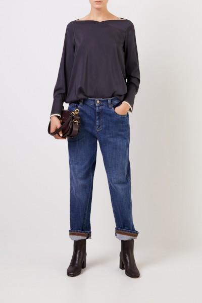 Seiden-Bluse mit breiten Manschetten Anthrazit