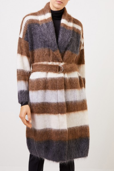 Brunello Cucinelli Wool mohair coat with belt Multi