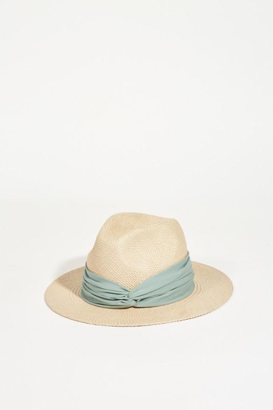 Hut mit Knotendetail Beige/Grün