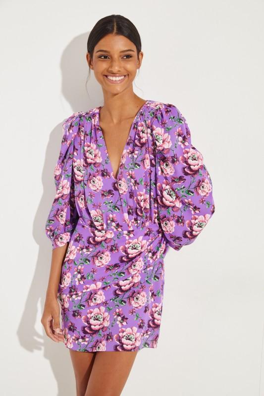 96aeb4c52395 Silk dress 'Faro' with floral print Purple/Multi | Day dresses ...