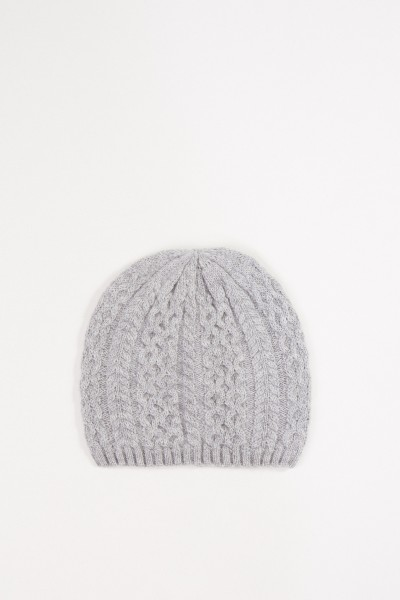 Uzwei Cashmere hat with cable stitch Grey