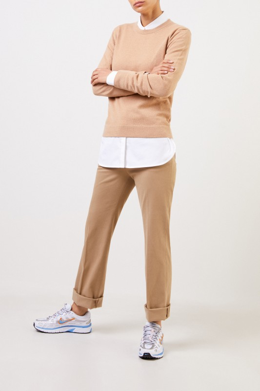 Agnona Klassischer Cashmere-Pullover Beige