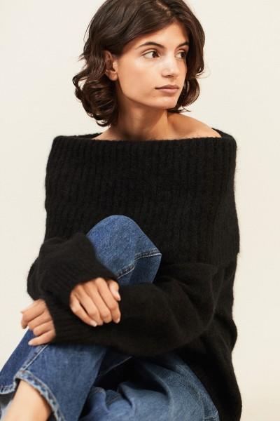 Pullover mit breitem Kragen Schwarz