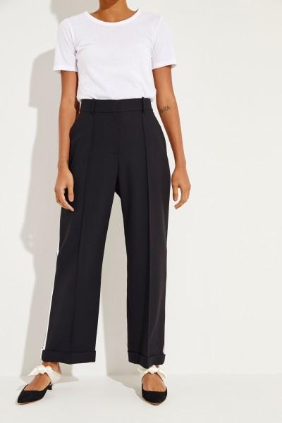 Woll-Hose mit seitlichen Streifen Schwarz/Weiß