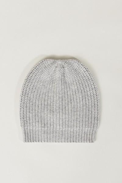 Cashmere-Mütze Hellgrau