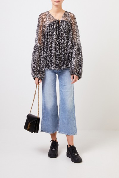 Stella McCartney Semitransparent silk blouse 'Morisset' with dot pattern Black
