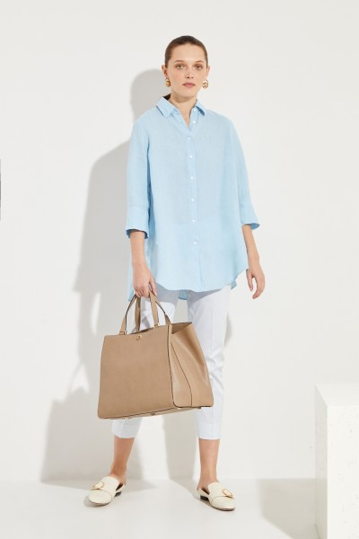 Leinen-Bluse mit verkürzten Ärmeln Blau