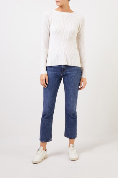 Cashmere pullover with knit detail White