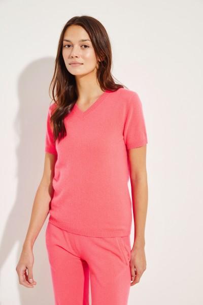 Kurzarm Cashmere-Pullover mit V-Neck Koralle