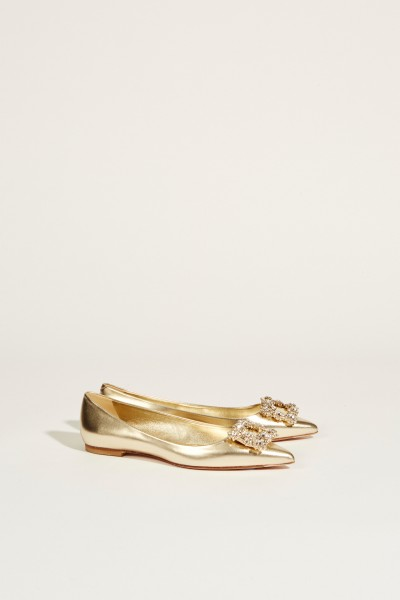 Flats with decorated buckle Gold