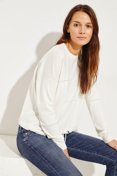 Cashmere-Pullover mit Perlenverzierung Weiß