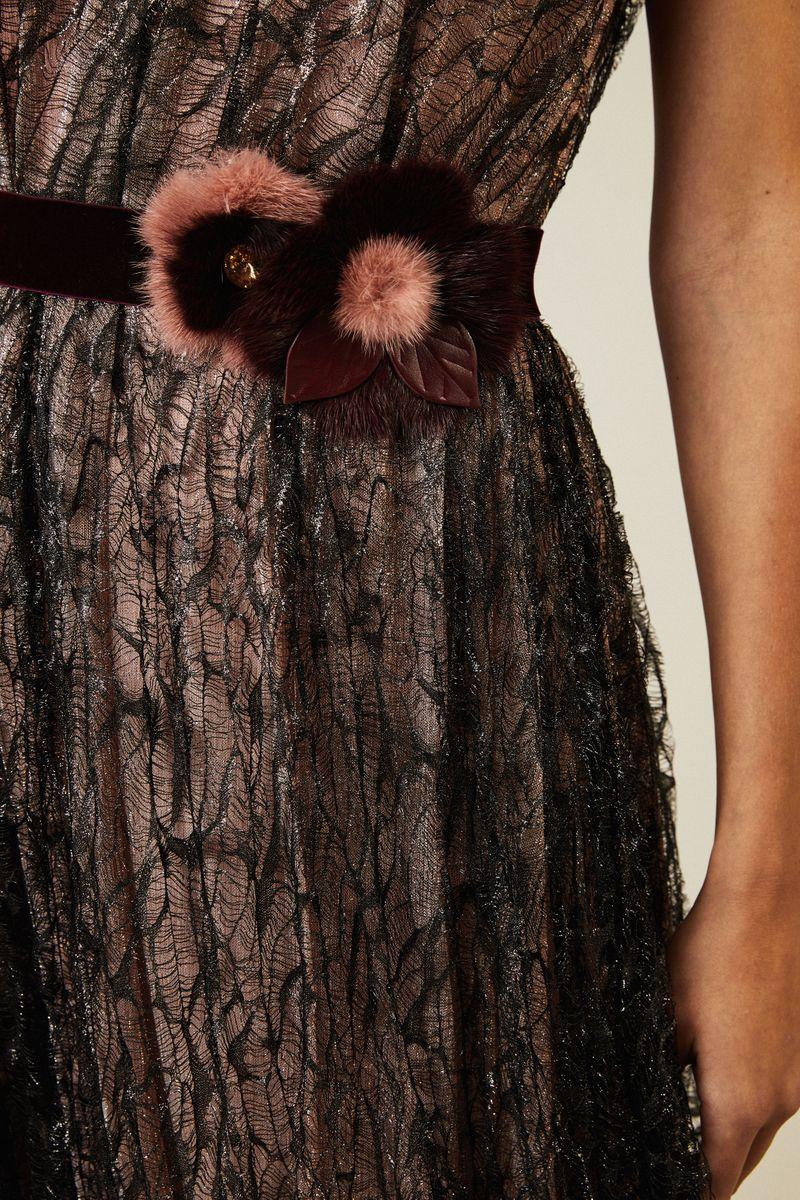 Abendkleid 'Poplar2' mit Spitze Schwarz/Rosé