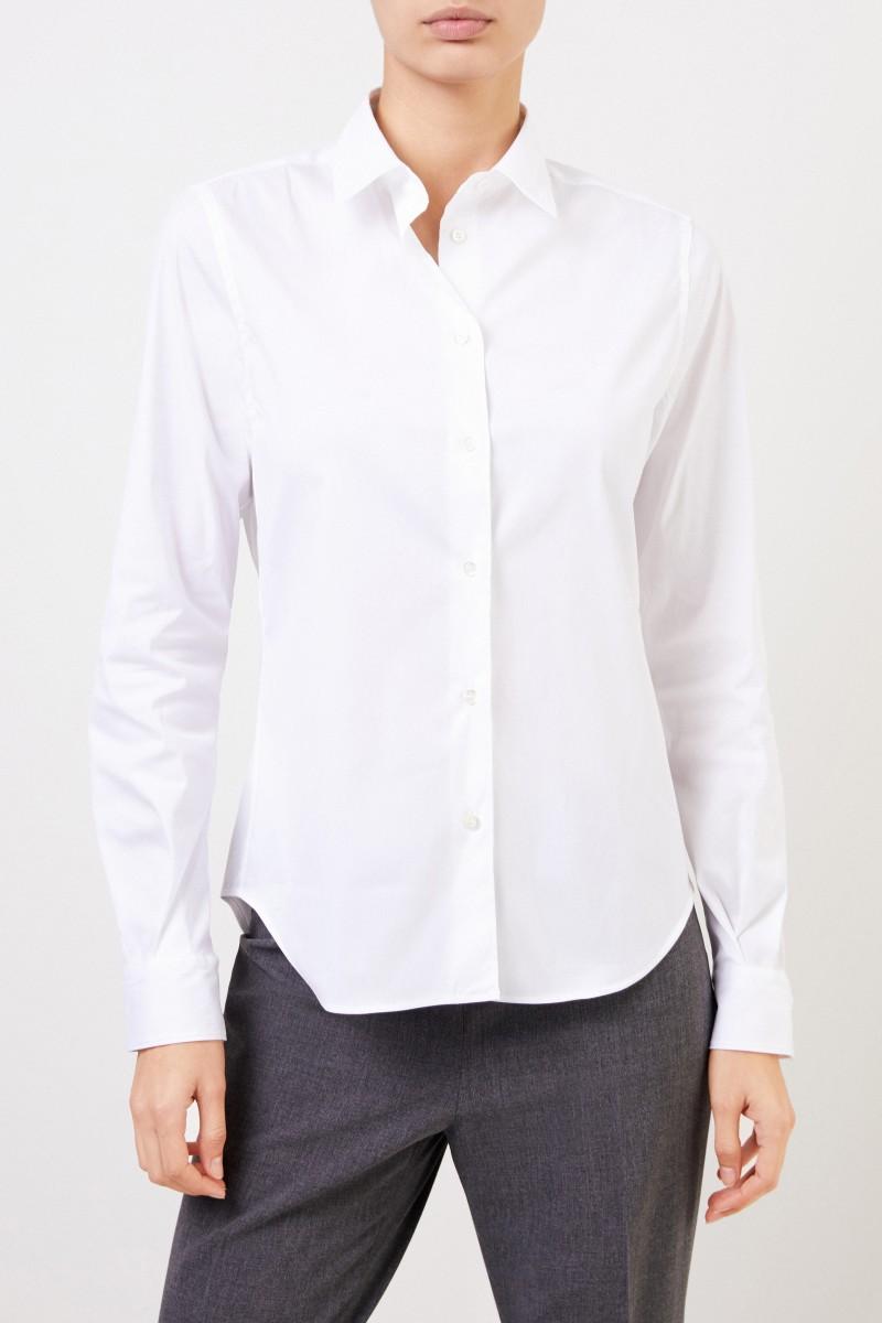Aspesi Baumwoll-Bluse mit abgerundetem Saum Weiß