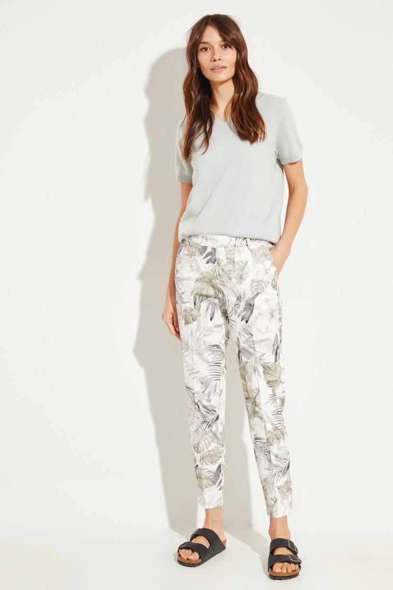 Baumwoll-Hose 'Stella' mit Print Weiß/Multi