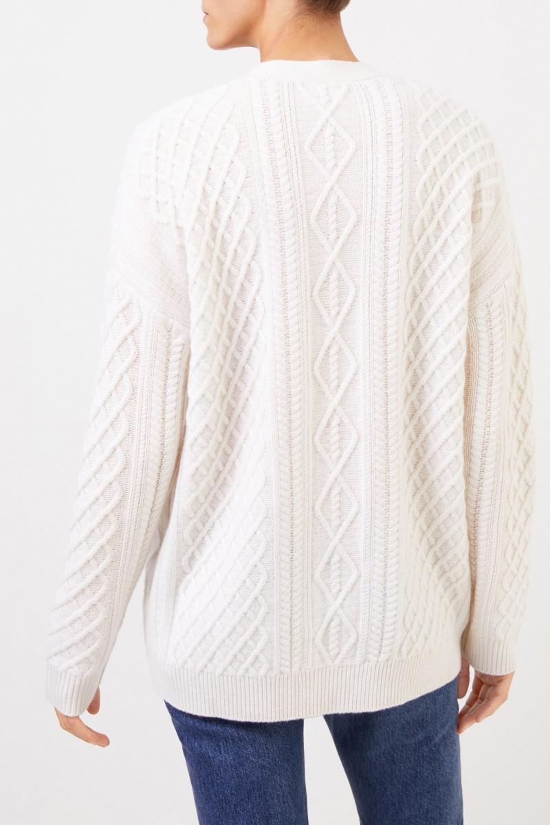 Uzwei Cashmere-Cardigan mit Zopfmuster Weiß