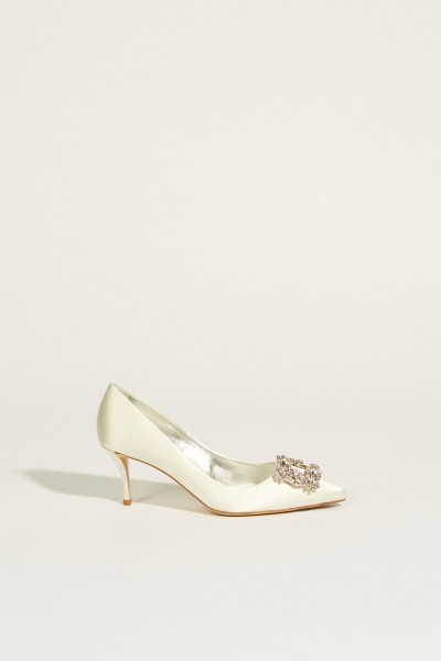 Pumps with Decorated Buckle White