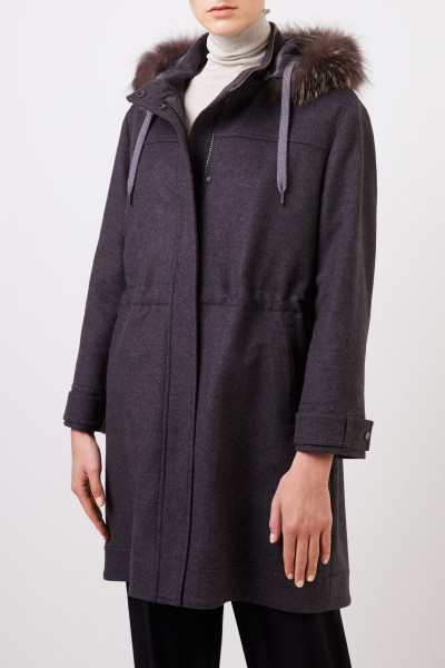 Brunello Cucinelli Wool cashmere parka with fur collar Anthracite