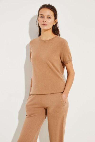 Kurzarm Cashmere-Pullover Caramel