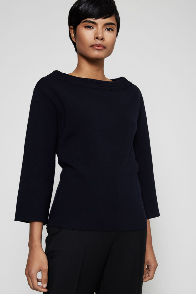Pullover mit rückseitigem Bindeelement Marineblau