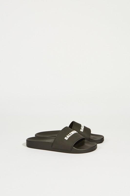 Sandale mit Logo-Schriftzug Schwarz/Weiß