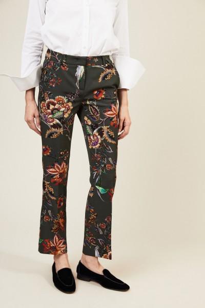 7/8-Hose 'Anni' mit floralem Print Khaki/Multi