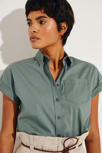 Kurzarm-Bluse Grün