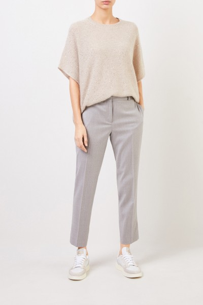 Fabiana Filippi Wool Pants with Sequins Decoration Grey Melange