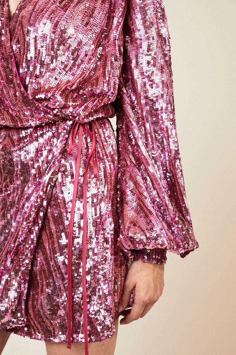 Mini-Wickelkleid aus Pailletten Pink