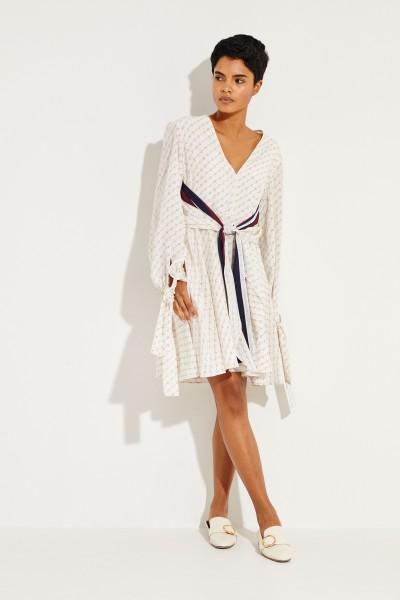 Seiden-Kleid mit Bindedetail Créme