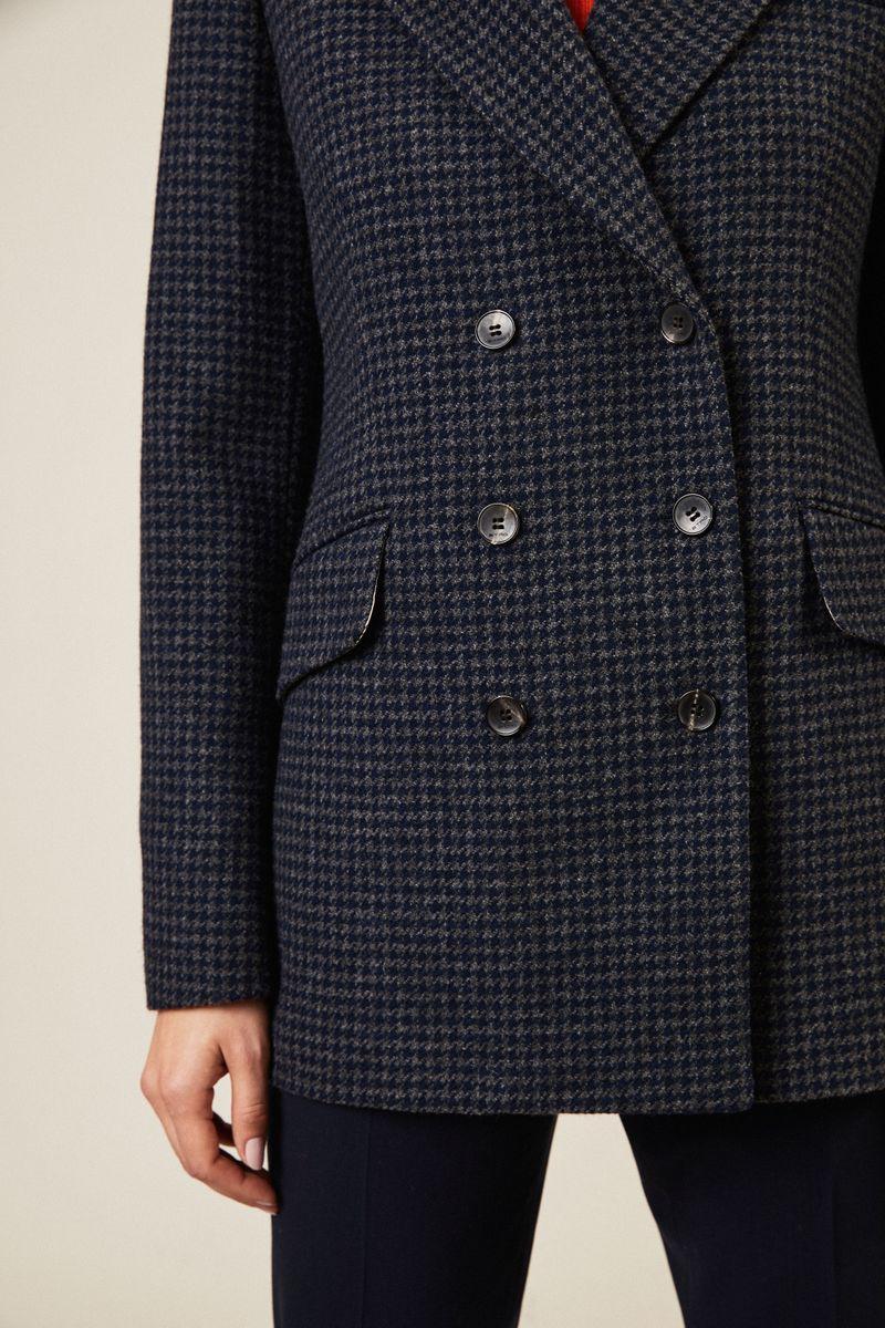 Woll-Blazer mit Hahnentrittmuster Grau/Multi