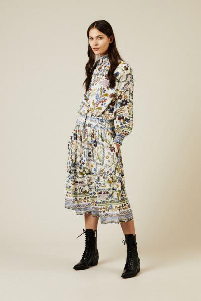Midi-Seidenkleid mit floralem Print Multi