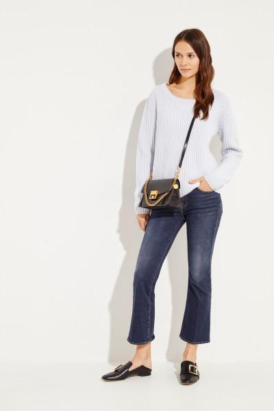 Rippstrick Cashmere-Pullover Hellblau