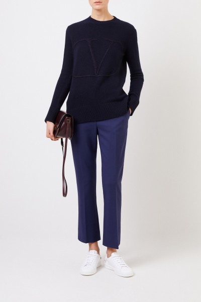 Valentino Woll-Cashmere-Pullover 'V' Navy