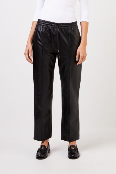 Joseph Leather trousers with elastic waistband Black